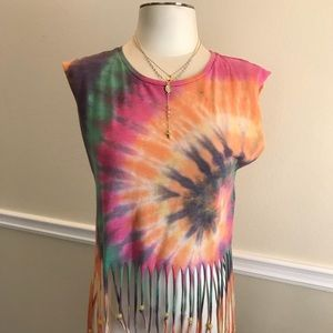 H & M tie-dye muscle tank with fringe and beads